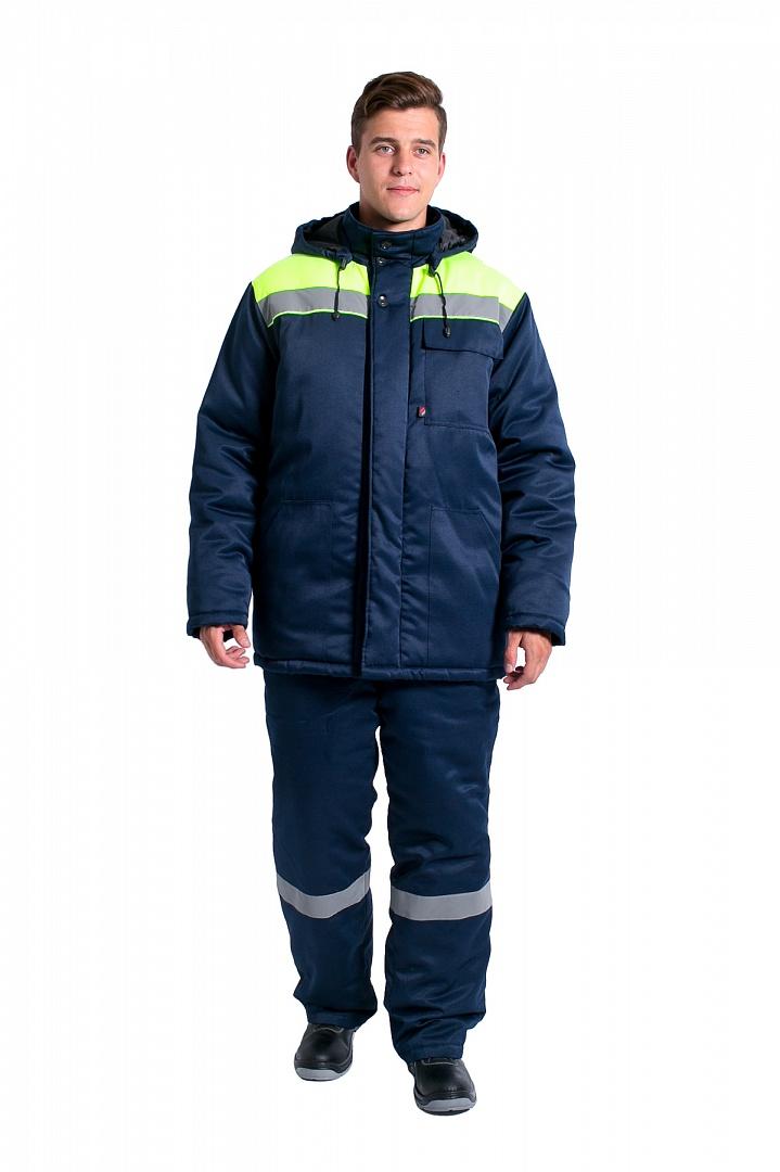Куртка зимняя мужская Эксперт-Люкс NEW (тк.Смесовая,210), т.синий/лимонный