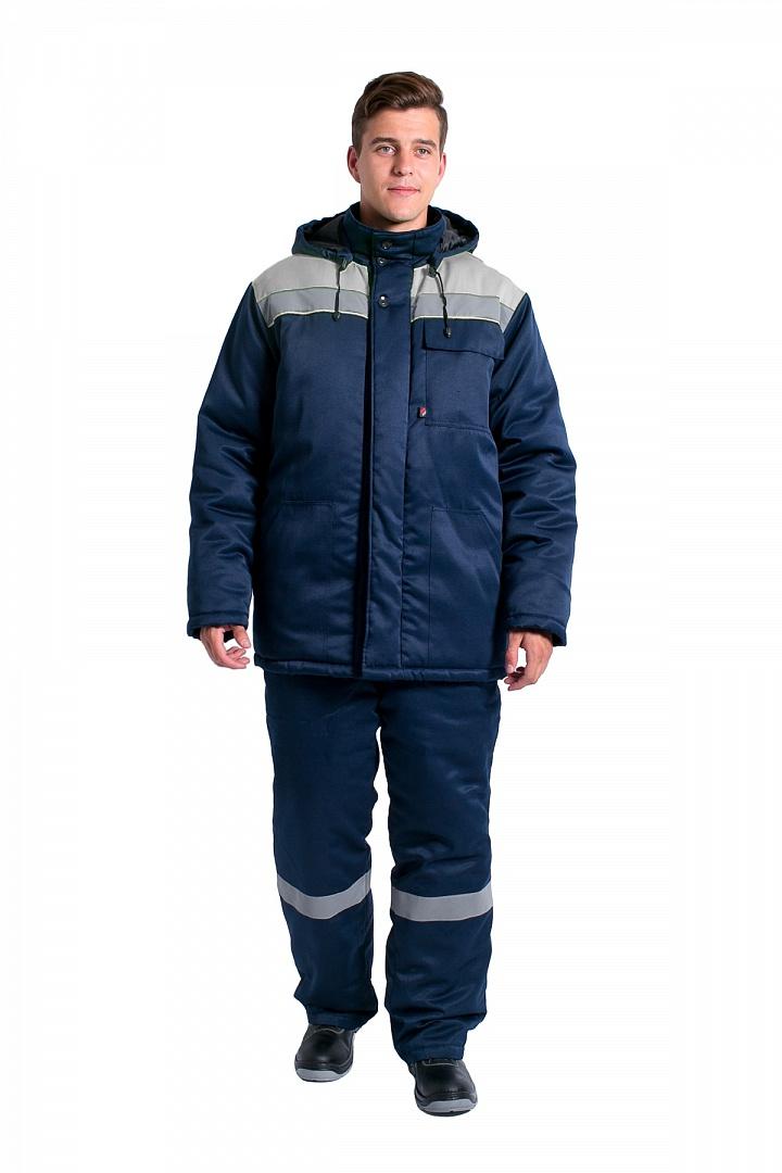Куртка зимняя мужская Эксперт-Люкс NEW (тк.Смесовая,210), т.синий/серый Артикул: 87469200