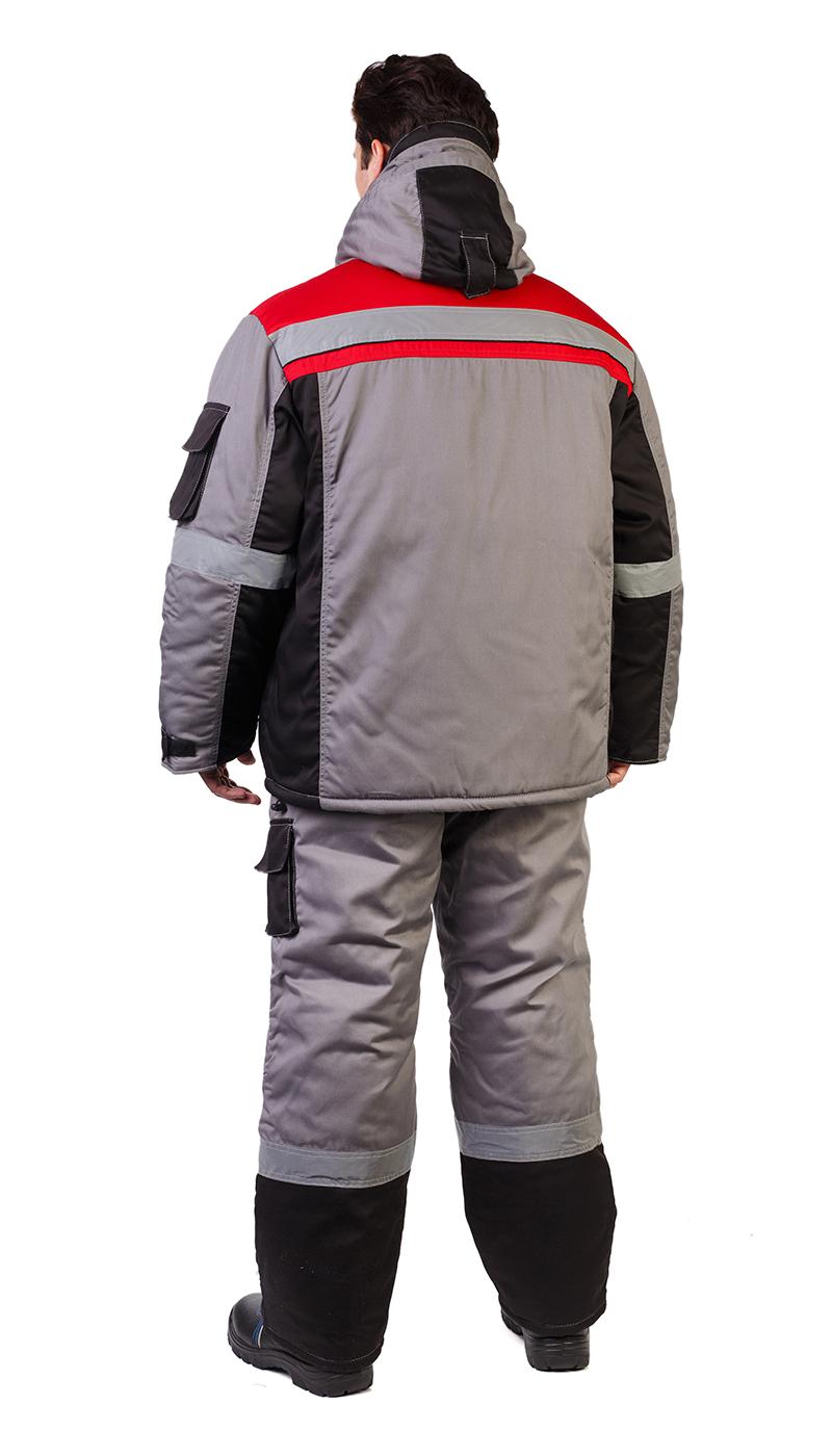 Костюм мужской «Респект» зимний куртка,п/к серый с кр-чёр отделкой и СОП тк. смесовая