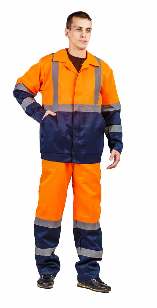 Костюм Дорожник с укороченной курткой (п/к), оранжевый/т.синий
