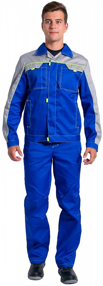 Костюм Фаворит-1 NEW (тк. Балтекс) брюки, васильковый/св.серый