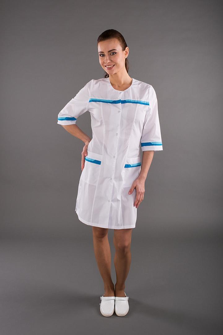 Халат медицинский женский Лотос, белый/голубой