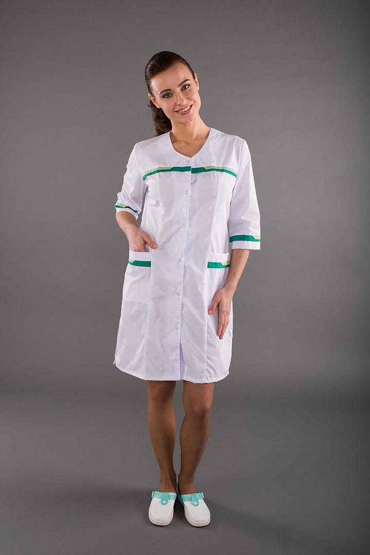 Халат медицинский женский Лотос, белый/зеленый