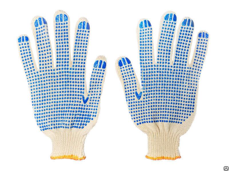 Перчатки х/б 4 нити 10 класс с ПВХ