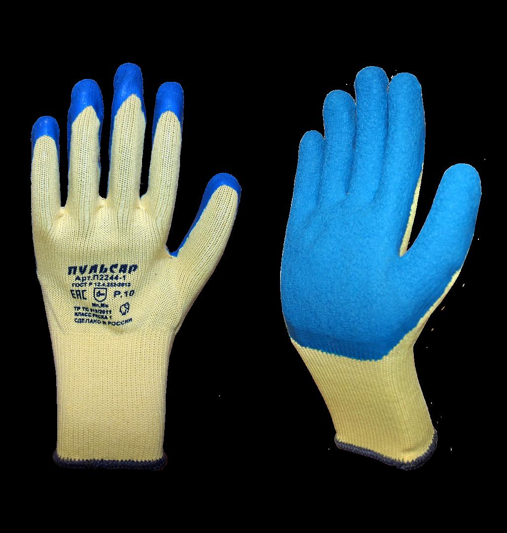 Перчатки трикотажные ПУЛЬСАР с покрытием из нат.латекса (Россия)