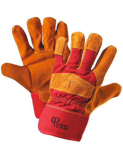 Перчатки спилковые комбинированные тип Русские львы