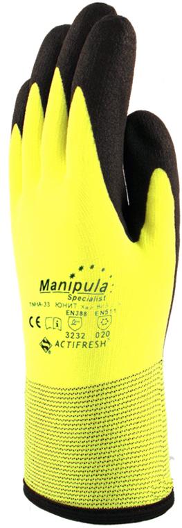 Перчатки Манипула ЮНИТ Хай Виз (TNHA-33, утепл. нейлон + HPT)