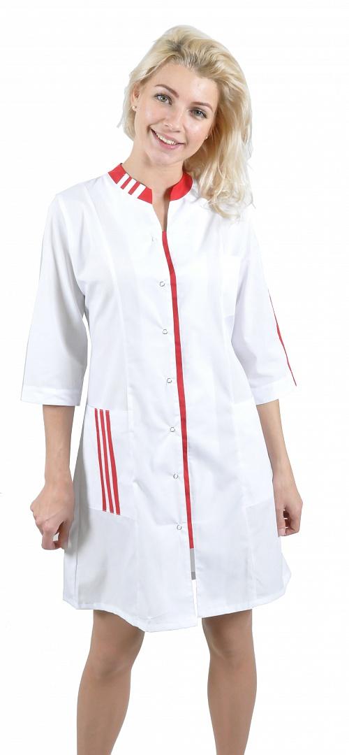 Халат женский Спринт (тк.ТиСи), белый/красный
