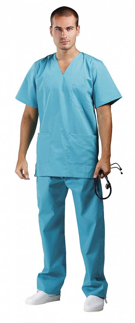 Костюм хирурга смесовый, бирюзовый