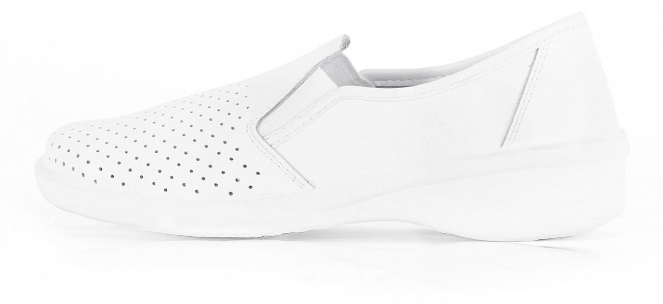 Туфли кожаные женские с перфорацией ПУ, белый