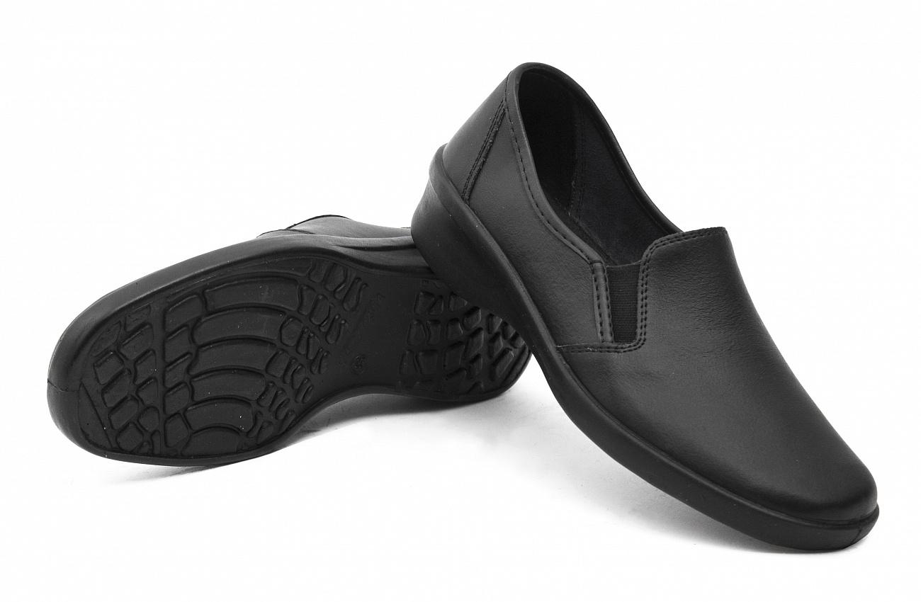 Туфли кожаные женские ПУ, черный