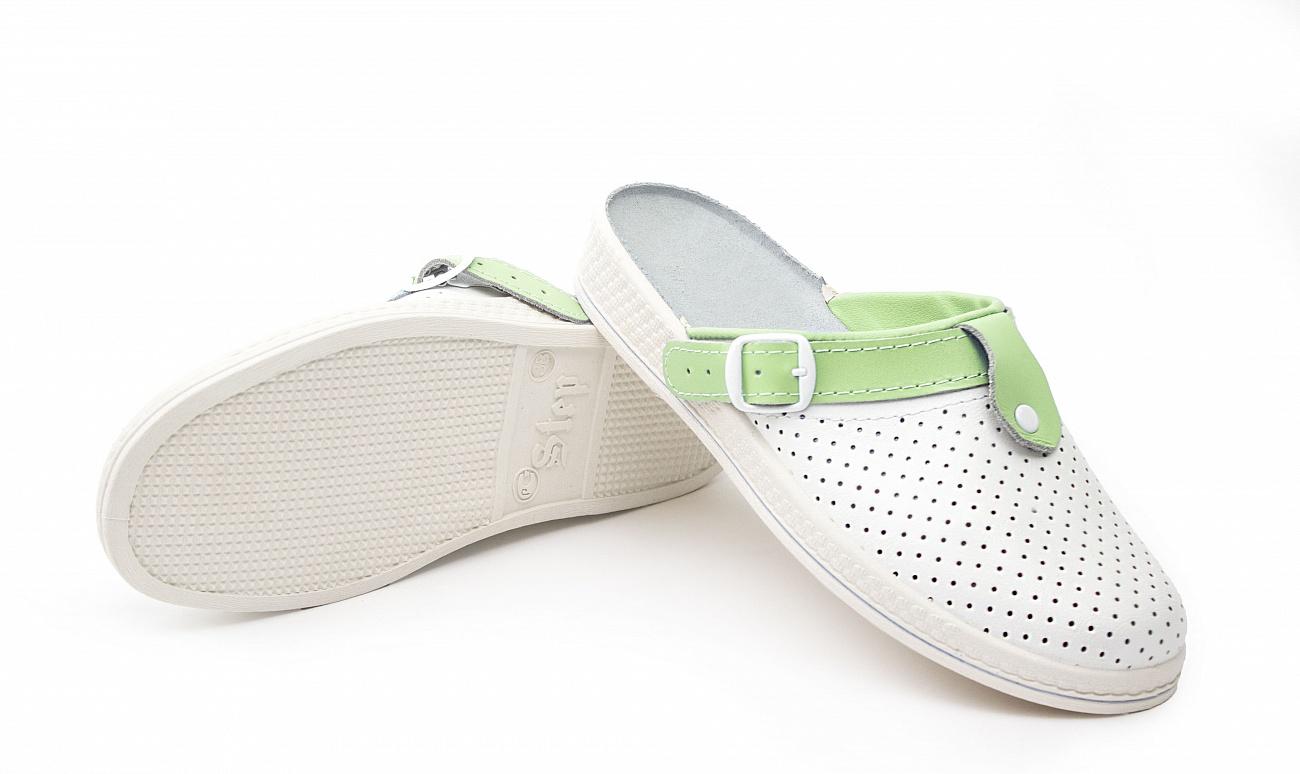 Сабо женские Комфорт кожаные, белый/зеленый