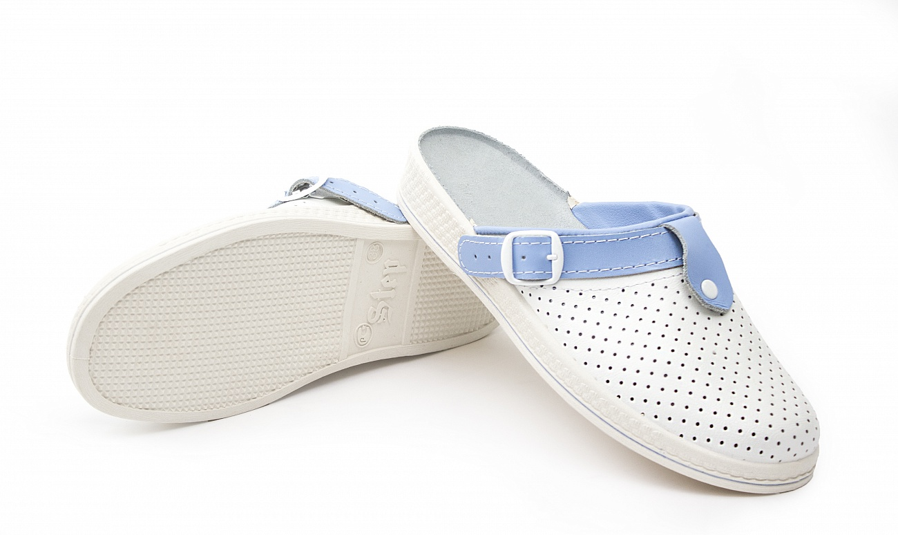 Сабо женские Комфорт кожаные, белый/голубой