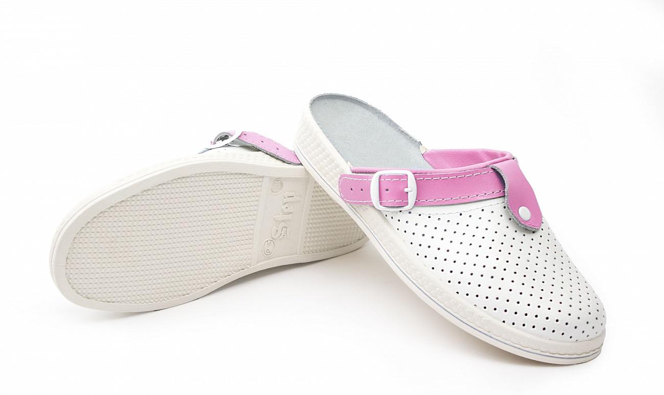 Сабо женские Комфорт кожаные, белый/розовый