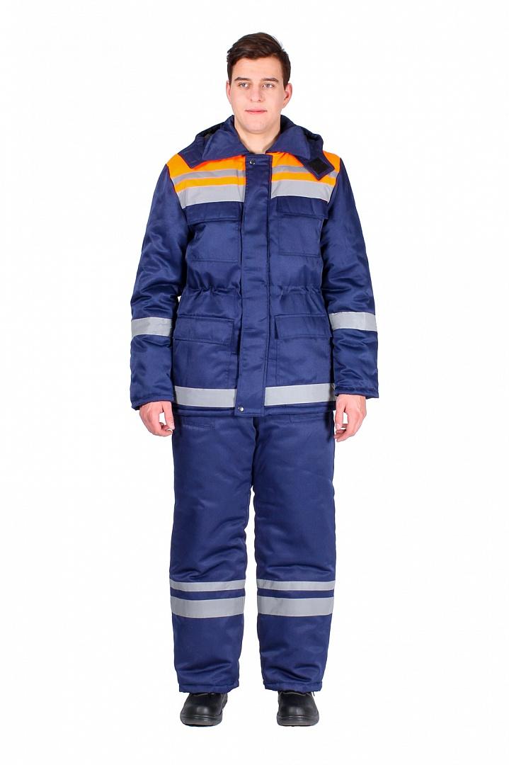 Костюм зимний мужской Горизонт-Люкс (тк.Смесовая,210) брюки, т.синий/оранжевый