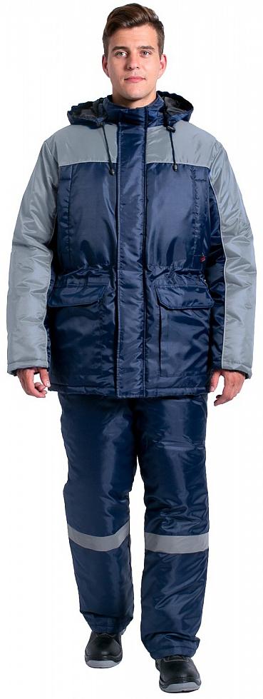 Куртка зимняя для инженера NEW (тк.Оксфорд), т.синий/серый