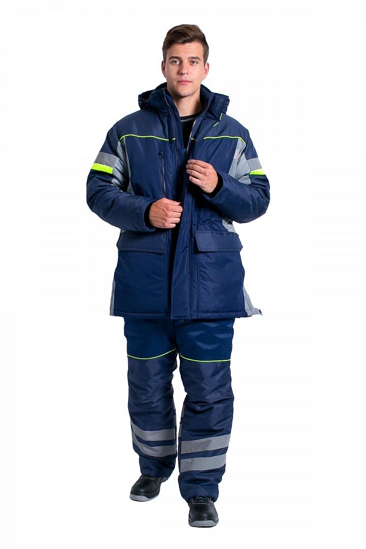 Куртка зимняя мужская PROFLINE SPECIALIST (тк.Таслан), серый/т.синий