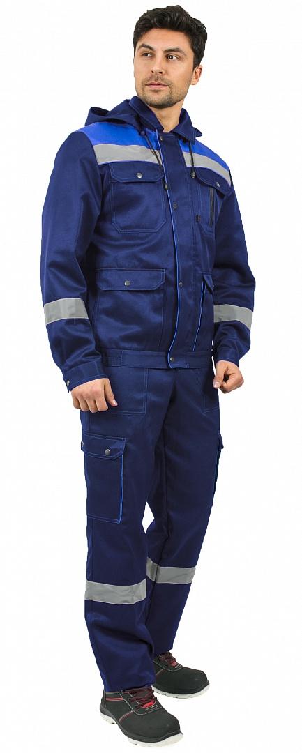 Костюм Титан СОП с капюшоном (тк.Смесовая,210) п/к, т.синий/васильковый