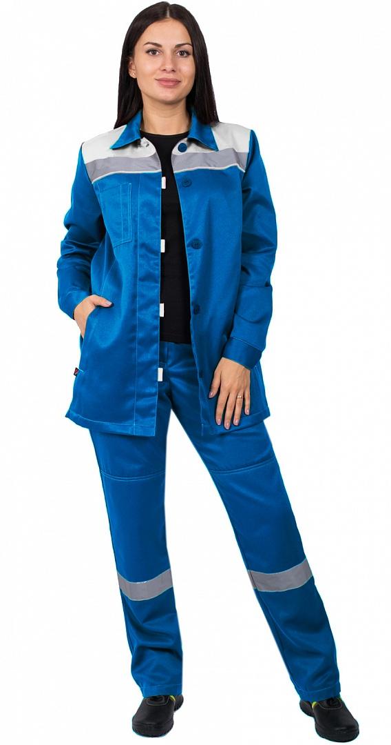 Костюм женский Весна-1 СОП NEW (тк.Смесовая,210) брюки, васильковый/серый