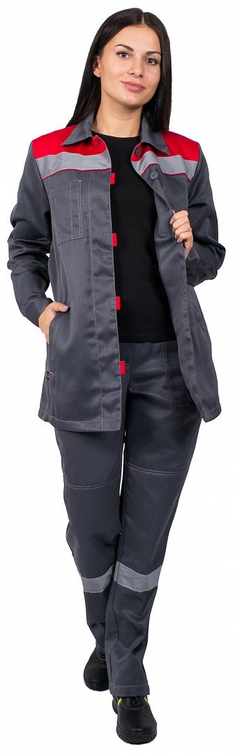 Костюм женский Весна-1 СОП NEW (тк.Смесовая,210) брюки, т.серый/красный