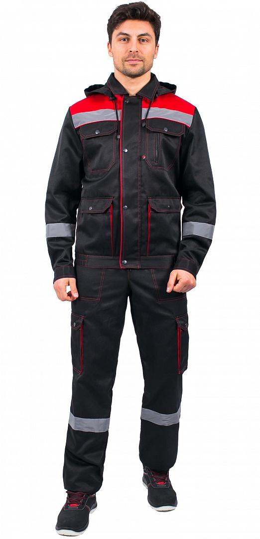 Костюм Титан СОП с капюшоном (тк.Смесовая,210) п/к, черный/красный