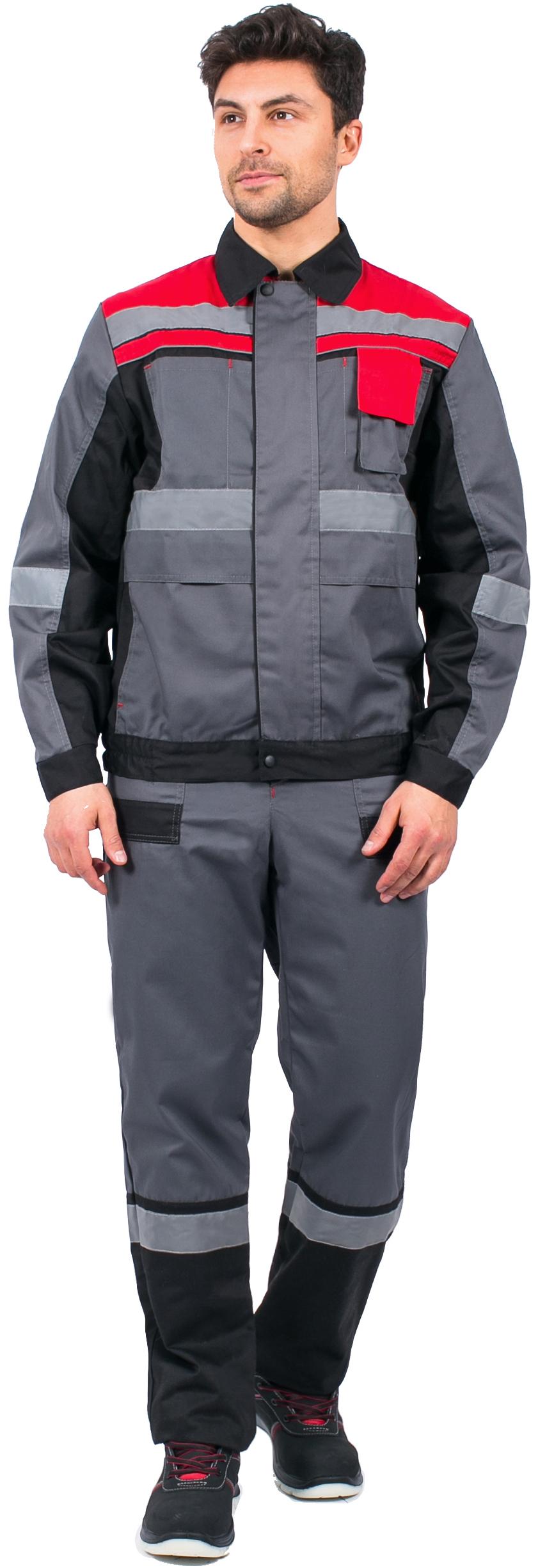 Костюм Виват-1 Премиум (тк.Протек,240) брюки, серый/черный/красный