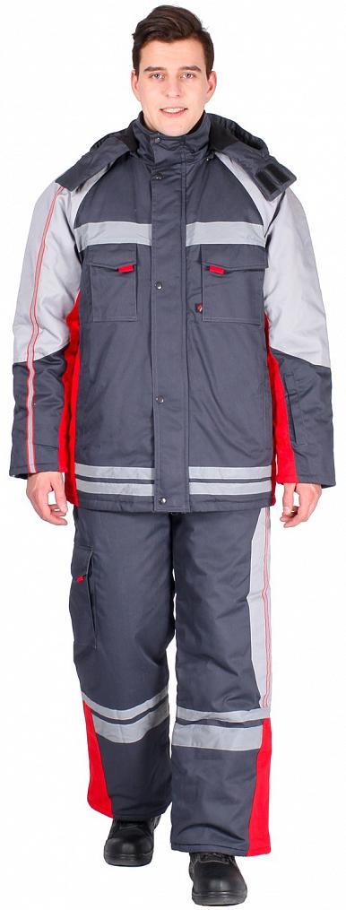 Костюм зимний Факел (тк.Балтекс,235) брюки, т.серый/красный