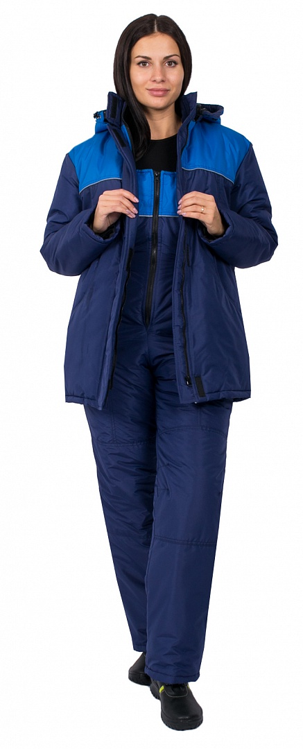Полукомбинезон зимний женский Снежана (тк.Таслан), т.синий/васильковый